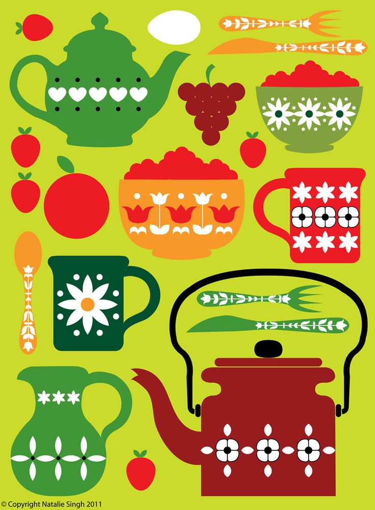 Retro kitchen design in greens and reds | Tree Hill Cloud via Etsy. This would look so good in my kitchen.
