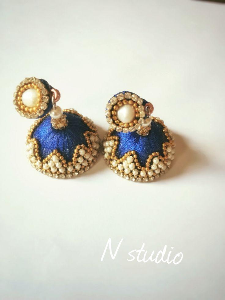 Handmade #silkthread #jumka #indian version earring #NstudioQatar