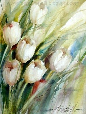 Asaz flora y fauna: Tulipanes, flora, de Fábio Cembranelli  #watercolor jd