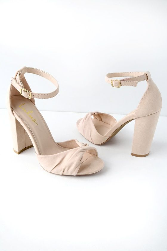 b4967d421 Carly Nude Suede Ankle Strap Heels