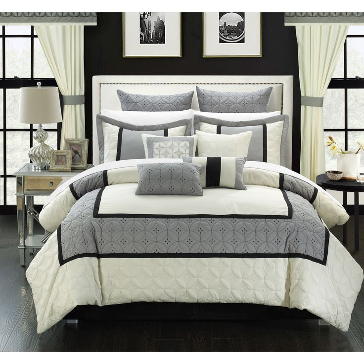 This 25 piece set has everything you will ever need to decorate in the highest quality any master bedroom. The design is inspired by a traditional master bedroom décor with contemporary quilted embroidery detail.