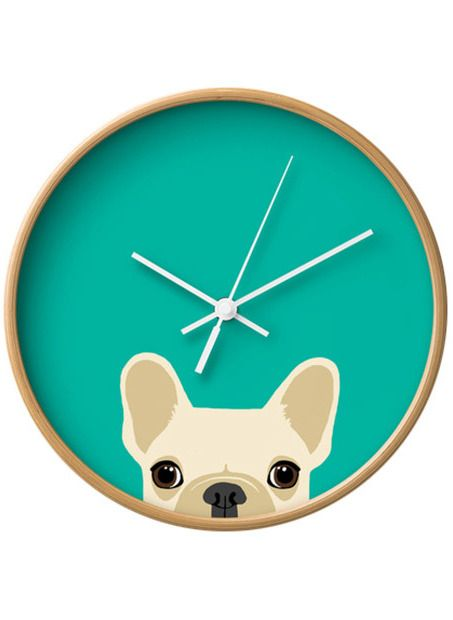 Frenchie Wall Clock, get it in black and white and it could pass as a boston terrier