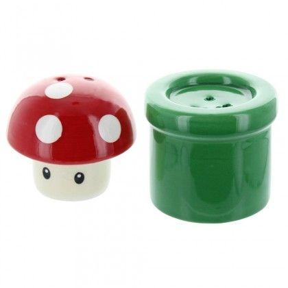Nintendo Mushroom & Pipe Salt- & Peber - AlphaGeek