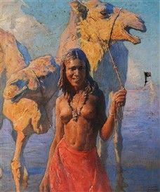 Peintre Polonais Adam Styka (1890 - 1959) ,Huile sur toile , Titre : Au bort d'oued