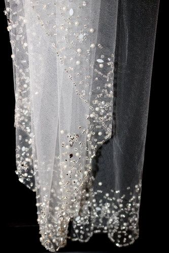 Beautiful, just starting to add to our collection, this gorgeous beaded edge veil. dazzling crystals, flat Swarovski rhinestone, silver