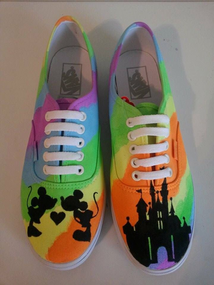 Mickey and Minnie Mouse Custom Painted Hand Made Shoes - Disney Castle Shoes -VANS CONVERSE TOMS - Custom Mickey Mouse Shoes by HeavenlyHayley on Etsy https://www.etsy.com/listing/231445543/mickey-and-minnie-mouse-custom-painted