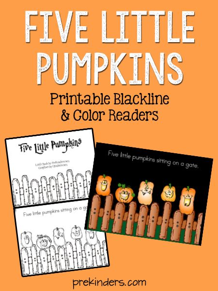 Five Little Pumpkins Printable Books in blackline and color. Use the color version as a slideshow on a projector or as an iPad book. The blackline can be copied.