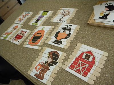 puzzles on popsicle sticks. such a good idea!