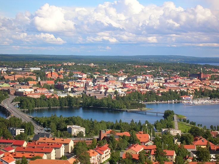 Östersund & Frösön, Sweden. My grandparents lived in the white apt. building to the right of the driving bridge, the one in all the trees. I was there many times & lived with them for 6 months.