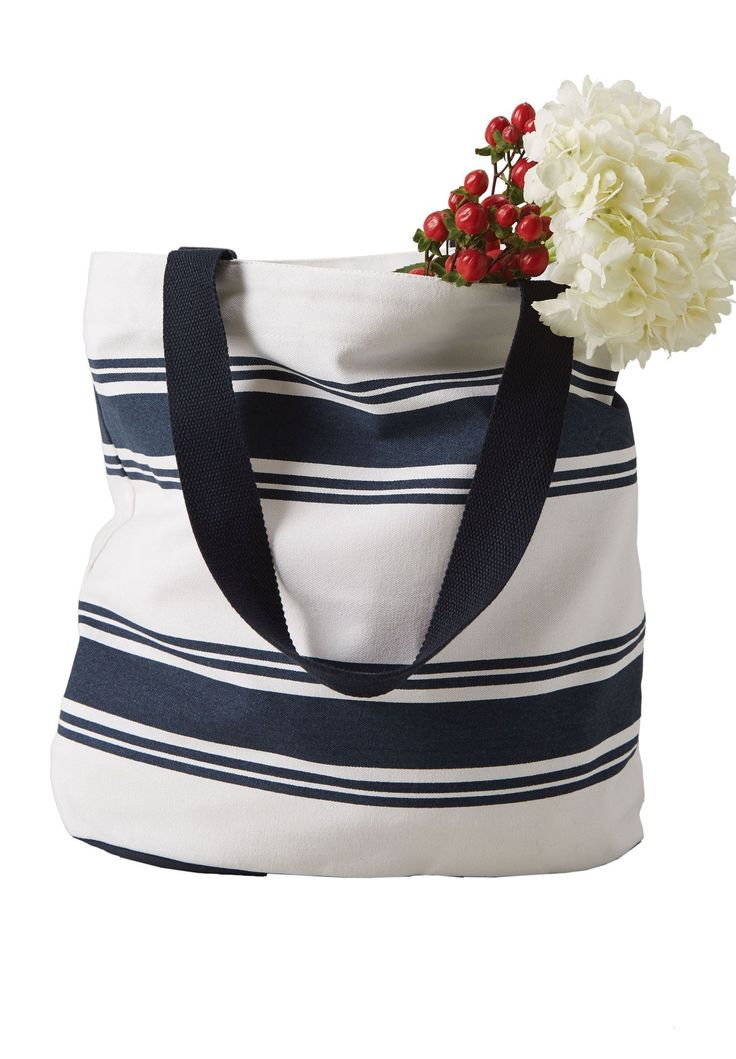 Striped Canvas Tote Bag by Ellos® - Wide Width Women's