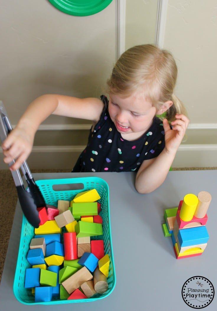 Turmbau mit Zange – Feinmotorik für Kleinkinder #Kinder #Kinderaktivi