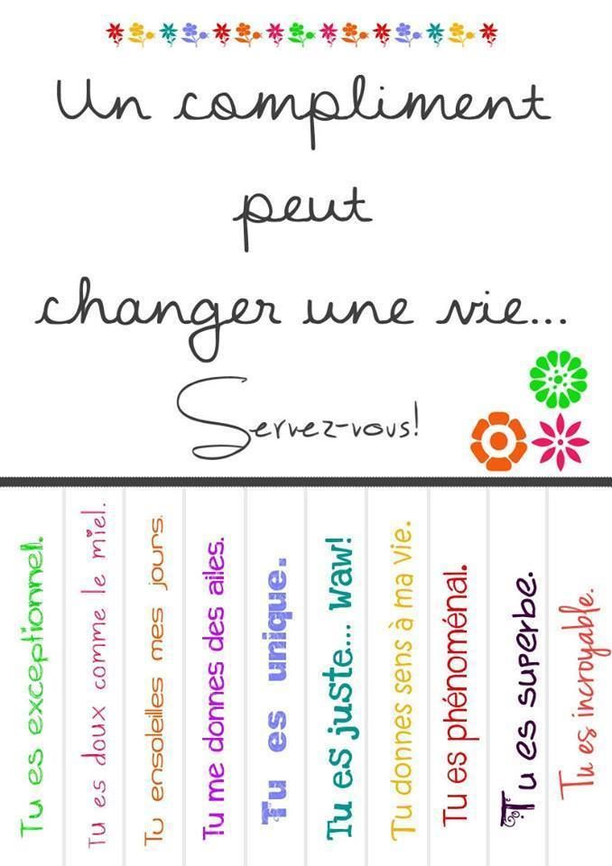 Pour inspiration, à transformer en compliments version CNV ? Aline ♥ citations un compliments...                                                                                                                                                      Plus