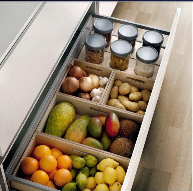 Cajon con cajoncitos retirables de madera, perfectos para frutas y verduras que no necesitan refrigerarse