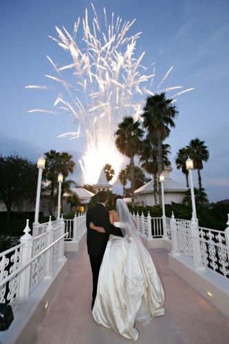 Fireworks in front of the Disneyworld Wedding Pavilion.    yes.