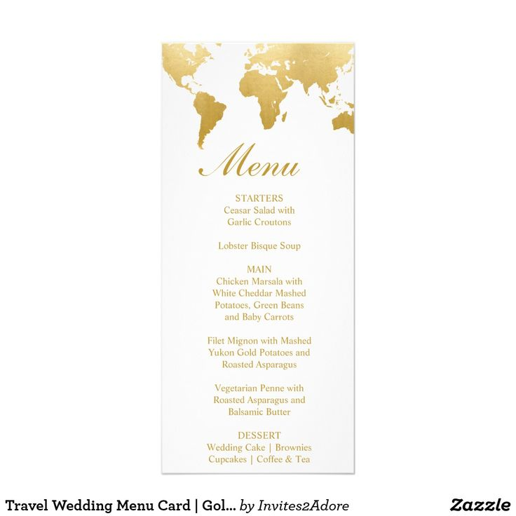 Globetrotter Glam Wedding Menu Card | Zazzle.com