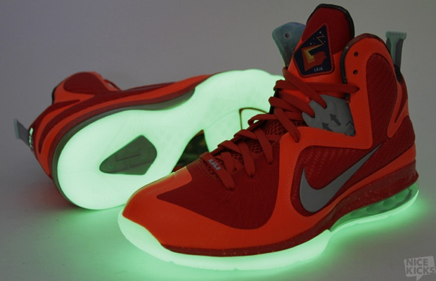Fancy - LeBron 9 Galaxy Sneakers with glow-in-the-dark soles.