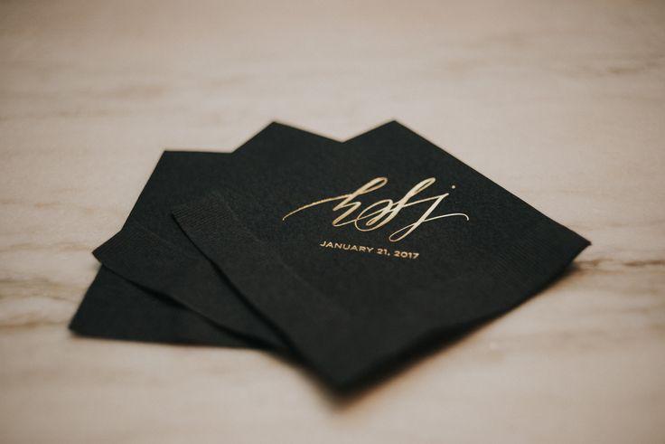Custom napkin, custom wedding napkin, gold foil wedding napkin, monogram wedding napkin, calligraphy wedding napkin, calligraphy custom napkin, calligraphy gold foil, black custom napkin, cocktail napkin, custom cocktail napkin, Houston event, Houston wedding, Houston catering