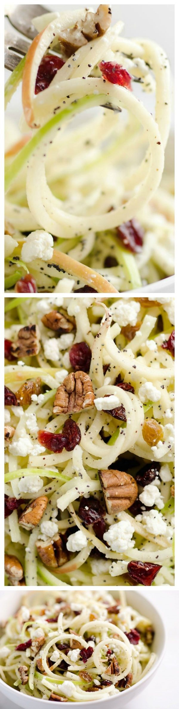 1 Apple, red. 1/4 cup Cranberries, dried. 1/4 cup Golden raisins. 1 Granny smith apple. 1/2 cup Citrus poppy seed dressing. 1/4 cup Goat cheese. ⅓ c. pecans, chopped and optionally toasted.