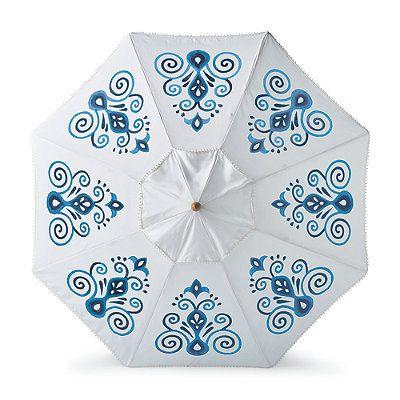 resort chic indigo designer umbrella - Designer Patio Umbrellas