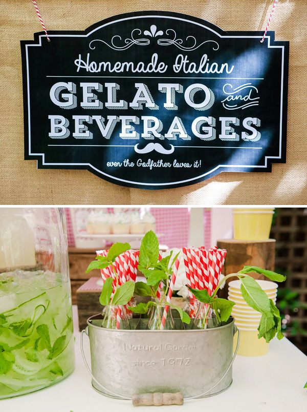 "~ Italian Party Inspiration by Bella Bella Studios ~ ""La Dolce Vita"" ~ A sweet party full of Italian yumminess. Compliments to Ham Designs ~ Photos via HWTM.  REAL CUTE SIGN!"