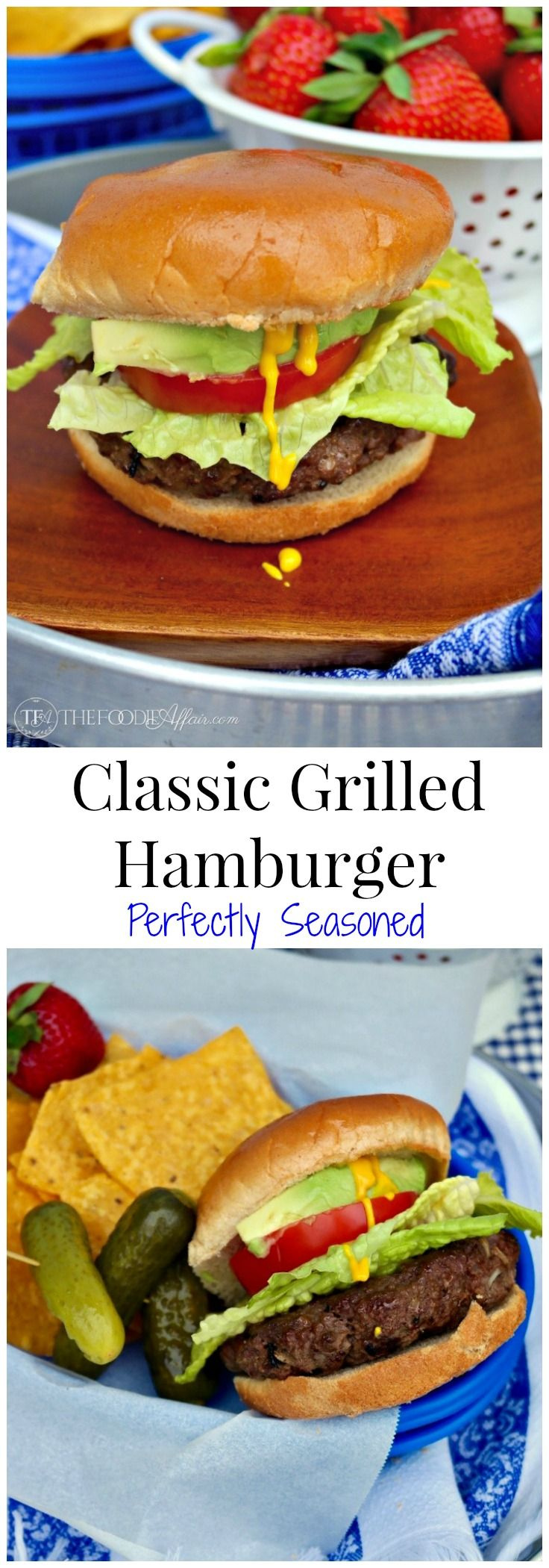 "Kick of your summer with an All-American burger! These classic grilled hamburgers will be your ""go to"" recipe for your barbecue gatherings! The Foodie Affair #hamburger #BBQ #recipe"