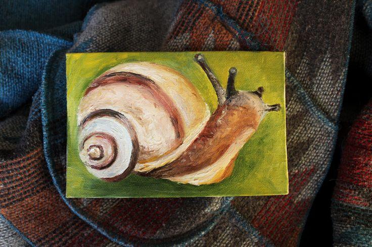 Snail. Oilpainting miniature, animal, insect. Миниатюра маслом. Животное оранжевая улитка насекомое by teslimovka on Etsy