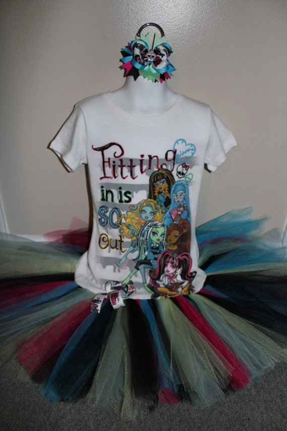 Monster High Tshirt tutu Birthday party dress with by Tulletime, $29.00