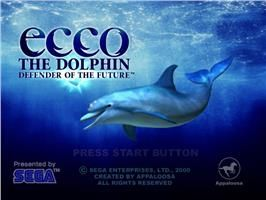 Title screen of Ecco the Dolphin: Defender of the Future on the Sega Dreamcast.