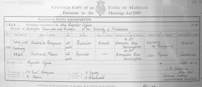 Marriage certificate from 1846. Trauschein, 1846