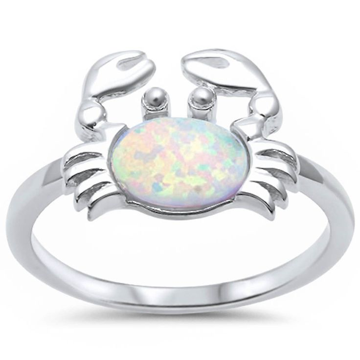 White Opal Sterling Silver Sea Crab Ring #Unbranded #Plumeria