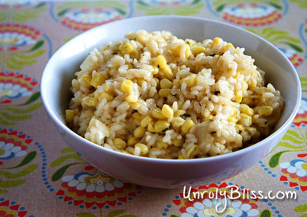Sweet Corn Risotto from UnrulyBliss.com | food porn | Pinterest