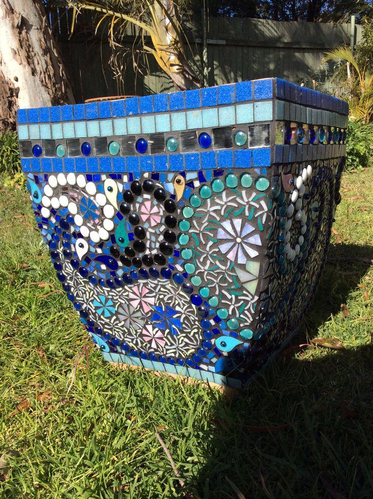 Glass mosaic pot. Designed and made by Gai Strakosch