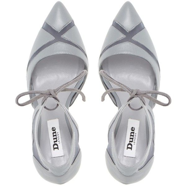 Dune Cosete Two Part Mesh Court Shoes, Grey Leather (€40) ❤ liked on Polyvore featuring shoes, pumps, heels, leather pumps, gray leather pumps, stiletto heel pumps, high heeled footwear and high heel stilettos