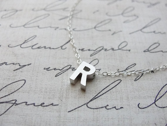 Tiny silver letter necklace - Silver initial necklace. $26.00, via Etsy. J,E,H,& R please.