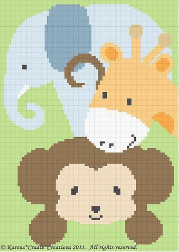 Crochet Pattern-SAFARI ANIMALS Monkey/Elephant/Giraffe