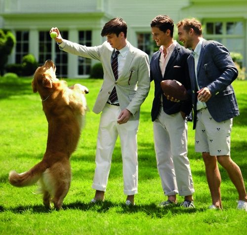 frat boys with a dog..doesn't get much better than that