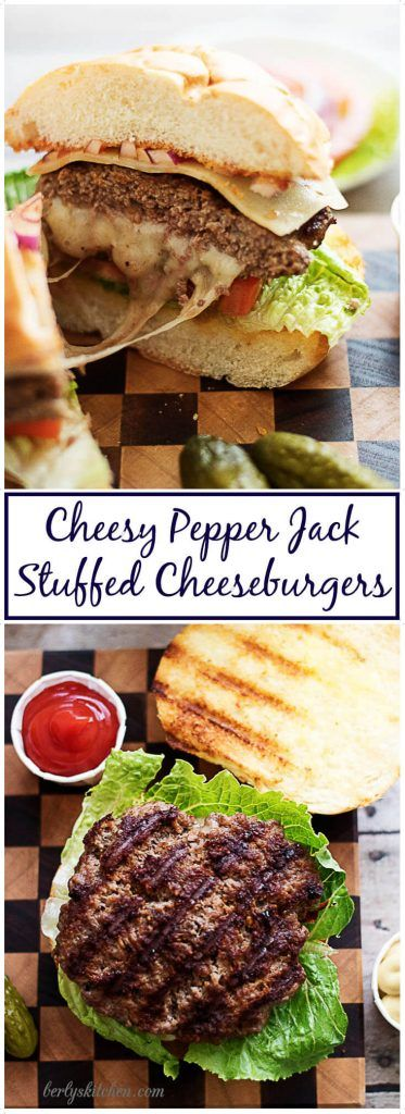 Cheesy pepper jack stuffed cheeseburgers are hearty and juicy. Seasoned beef and spicy pepper jack are sandwiched between a toasted kaiser bun. via @berlyskitchen
