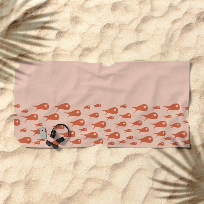 Fish Stripe In Burnt Orange On Blush Pink Solid Minimalist Retro