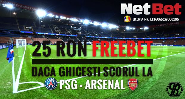 Netbet: Concurs exclusiv scor corect la PSG - Arsenal - Ponturi Bune