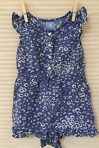 Baby-Gap-Outlet-6-12M-Denim-Look-Blue-Floral-Romper-Ruffle-Trim-Legs-VGUC