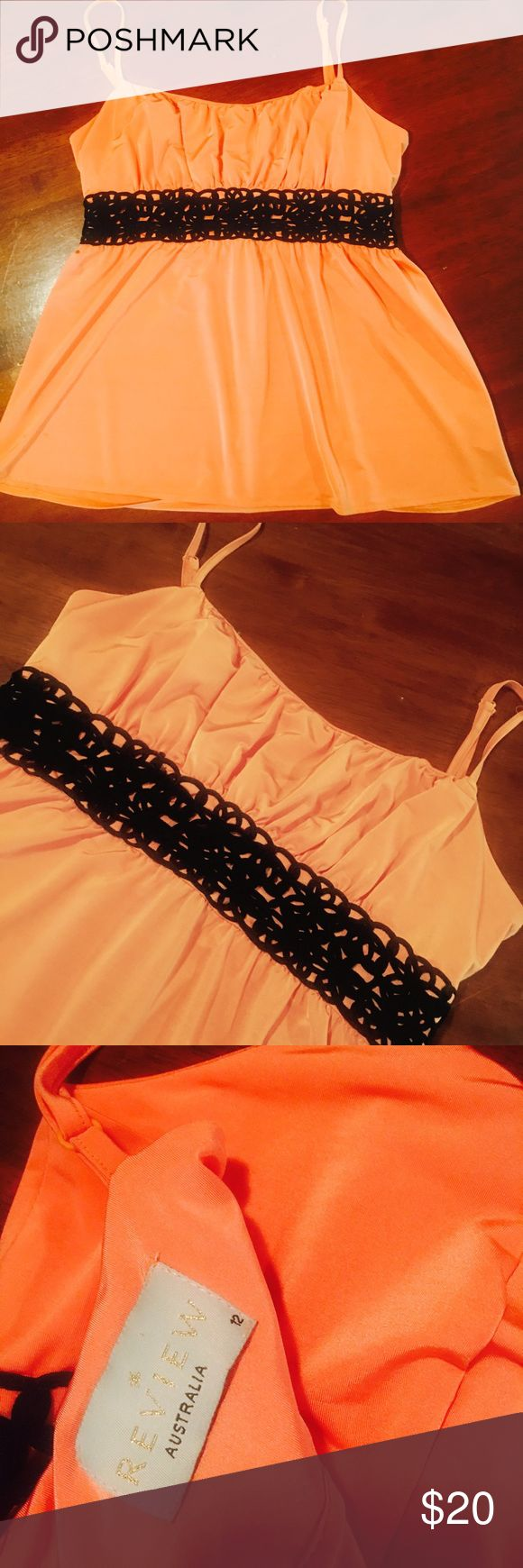 Orange / Peach semi formal top Gorgeous Semi formal strappy top with black lace detail. Worn once only for a wedding. Review Australia Tops Camisoles