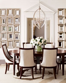 Love the bold dark wood lines in this dining set. Great dining room!