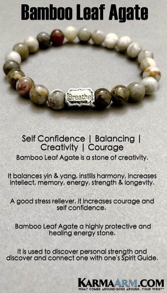 BoHo Yoga Beaded Bracelets   Reiki Meditation Jewelry. Mens Bracelet. #Bamboo Leaf Agate balances yin & yang, instills harmony, increases intellect, memory, energy, strength & longevity. #Bracelets #BEADED #Yoga #Jewelry #gifts #Chakra #Reiki #Healing #Gifts #Buddhist #Love #Mantra #Mala #Meditation #prayer #mindfulness #wisdom #CrystalEnergy #EckhartTolle #GiftsForHim #MensBracelets #MensJewelry