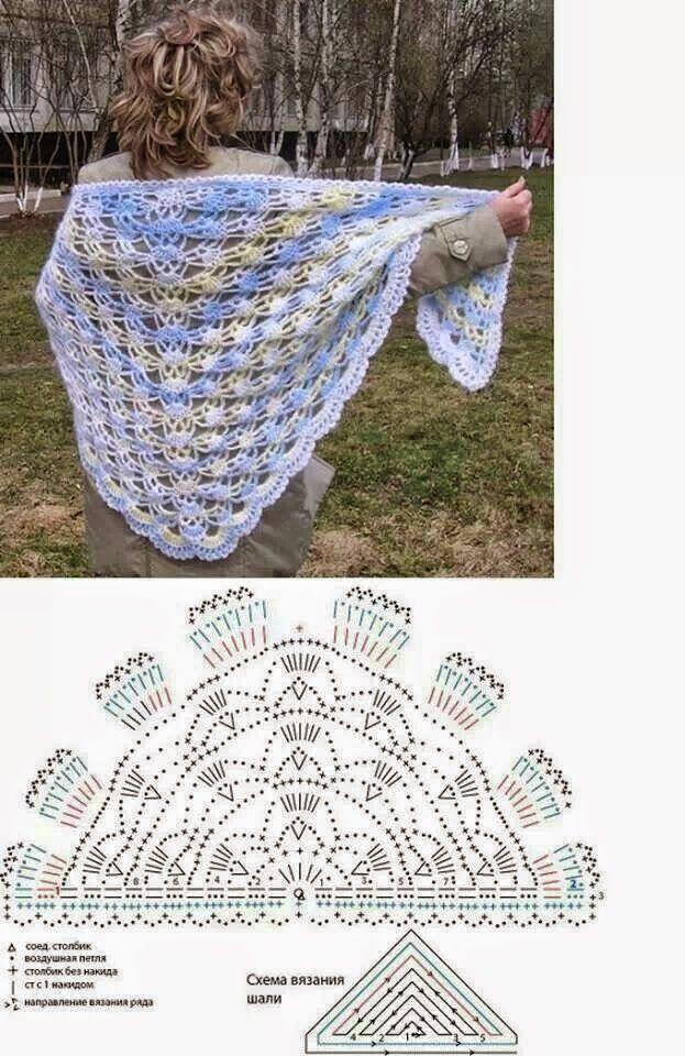 1003 best Chal,shawl,capitas images on Pinterest | Patrones de ...