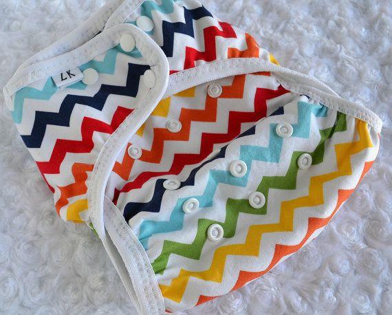 cloth diaper cover - rainbow love - chevron -  S, M, L - custom made