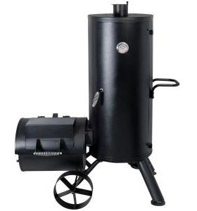 One of the few Vertical Offsets on the market, this inexpensive smoker mitigates the basic design flaw of horizontal offsets: heat travels upward not sideways.