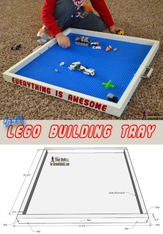 Easy DIY Lego building tray tutorial. A Lego tray is a perfect place for your kids to create, play and display their amazing Lego creations. @Remodelaholic #12days72ideas #giftidea
