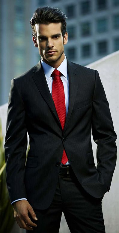 Probably my favorite outfit ever: black suit, white shirt, red tie