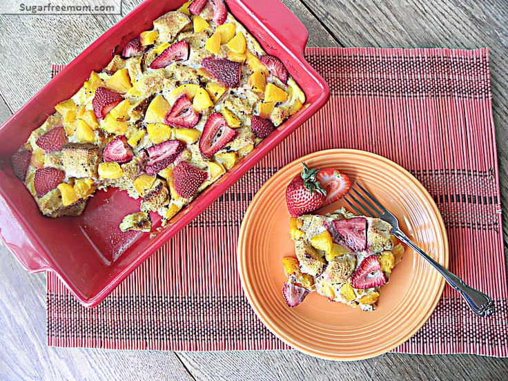 Healthy Baked Peachy French Toast {No Sugar Added}