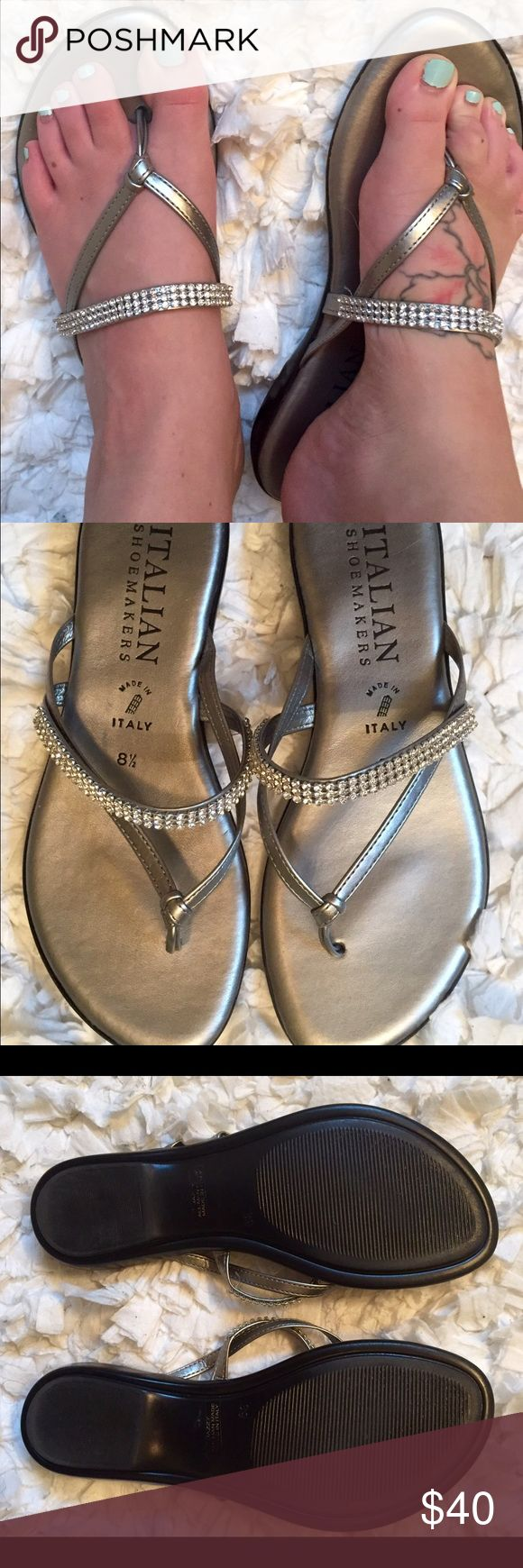 Italian Shoemakers silver formal flat sandals Italian Shoemakers silver flat sandals / flip-flops with some bling sparkle detailing. Worn only once, in fantastic condition. A little padding in sole for extra comfort. Size 8.5 true to size. Retailed at $60. Italian Shoemakers Shoes Sandals